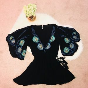 Free People Embroidered Tunic with Flowing Arms